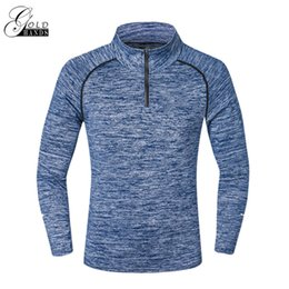Wholesale Tights Long Sleeve Tees - Men Casual Long Sleeve Tees Active Solid Stand Collar Slim Elastic Tops Men Spring Autumn T-shirts Tight Fashion Male Tees