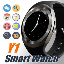 Wholesale watch touch phone - Y1 Smart Watch Latest Round Touch Screen Round Face Smartwatch Phone with SIM Card Slot Smart watches for IOS Android in Retail Package