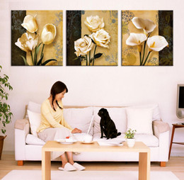 Wholesale Orchid Paintings Canvas - 3pcs(no frame)art orchid canvas oil painting poster living room pictures on the wall Modular pictures Print