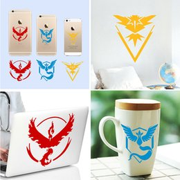 Wholesale Laptop Logo Stickers - Poke go team Sticker Instinc Mystic Valor Instinct camp Logo wall car pocket monster Pikachu Decal film for iphone laptop PC Stickers B