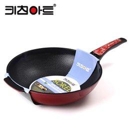 Wholesale Smokeless Fry Pan - Wholesale-Ceramic buzhanguo 32cm wok diamond marble smokeless frying pan