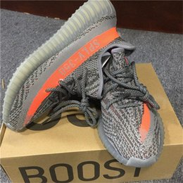 Wholesale Wrestling Shoes Mens Size 13 - Free shipping With Box Wholesale Mens shoes Running Shoes Boost 350 V2 SPLY-350 STEGRY BELUGA SOLRED black red stripe size 5-13