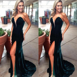 872ce5e8f0 Sexy Velvet Prom Dresses Long With Sweetheart Side High Split Mermaid Evening  Gowns Sweep Train Custom Made Celebrity Party Dress tulle velvet prom dress  on ...