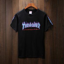 Wholesale Cool Long Shorts - Men's Thrasher Short Sleeve T Shirt Boys Summer Streetwear White Black Printed Casual Tee Shirts Cool Skateboard T Shirts YBF0901