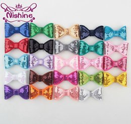 """Wholesale claw clips for hair - Nishine 2"""" Embroideried Sequin Bows For Headband Hair Clip Kids Girls DIY Hair Bow Hair Accessories(Color:24 Colors)"""