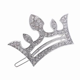 Wholesale East Dance - New Princess Silver Gold Plated Crystal Crown Hairpins Hair Accessories Girls Tiaras Headwear Girl Xmas Dancing Party Hair Clip DHF583
