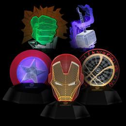 Wholesale Marvel Led Lights - Marvel avengers LED Light bedroom living room 3D Iron man creative lamp decorated with light night light Led toys for kids christmas gift