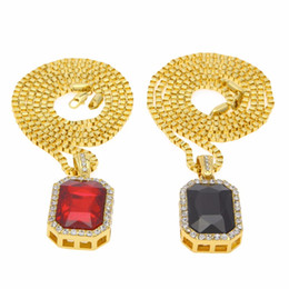 "Micro Ruby Red & Black Square Pendant set 2.4mm 24"" Box Chain Gold Tone Iced Out Necklace hiphop gold chains for men women Coupons"