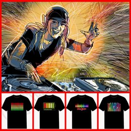 Wholesale Sound Activated Novelties - 60PCS HHA826 Fashion 226 Style Music Party Equalizer LED T-shirt,EL T-Shirt Sound Activated Flashing T Shirt Light Up and Down