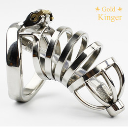 Wholesale Male Chastity Long - New Male Chastity Device Long Bird Cage Stainless Steel Chastity Belt sex toy CD101-2