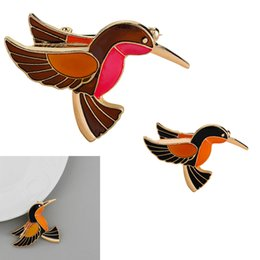 Wholesale Mexican Painted Plate - Glaze Flying Bird Brooch Hand Painted Orange & Red Birdie Vintage Pin Red-crowned Flamingo Birdie Jacket Pin Badge Gift Jewelry