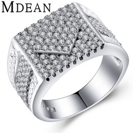 Wholesale Square Punk Rings - MDEAN Big Ring Square Design Punk men Jewelry White Gold Plated Engagement fashion Rings For men luxury Bague Accessories MSR370