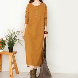 Wholesale Girl S Denim Dresses - Wholesale- temperament Retro knit cotton o-neck long sleeve denim mori girl loose long dress mori girl 2016 autumn