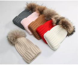 Wholesale Tennis Balls Brands - Fur Ball Cap Pom Poms Winter Hat for Women Girl 's Hat Knitted Beanies Cap Brand New Thick Female Headgear Headdress Head Warmer