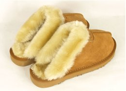 Wholesale Womens Snow - Brand slippers warm Warm cotton slippers Men Womens slippers Womens boots Snow boots Brand Designer Indoor cotton slippers Leather slippers