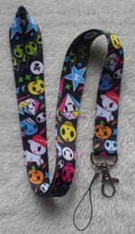 Wholesale Keychain Id Holder - Hot!20 Pcs lot Cartoon Rainbow Skull Hallowmas Lanyards ID Card Badge Holder Keychain