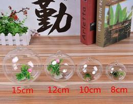 Wholesale Glass Balls For Vase - Hanging Clear Flat-bottomed Crystal Glass Vase Flower Balls Terrarium Vases 6cm 8cm 10cm 12cm 15cm For Wedding Decoration Home Decor