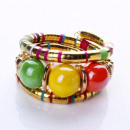 Bijoux tibétains bon marché en Ligne-Bijoux chauds Bracelet en argent tibétain résine incrustation rondeur perle ajuster 2 couleur Bracelet B0235 bracelet pas cher bijoux