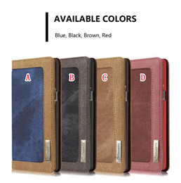 Wholesale canvas wallet case - Caseme Leather Wallet Pouch Case For Samsung Galaxy S8 S9 S7 Edge Iphone 8 7 7G I7 6 6S Plus SE 5 5S Retro Canvas Stand Photo Magnetic Cover