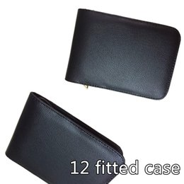 Wholesale Ball Pen Case - Wholesale-2pcs High Quality Top Great Black Brown Leather Pencil Case For 12 Fountain Or Roller Ball Pen Case