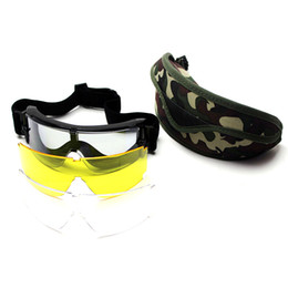 Wholesale Paintball Pcs - Tactical Goggles Airsoft Paintball X800 3 lens Sunglasses Outdoor Sports protective Climbing Eyewear in Multicamo Case
