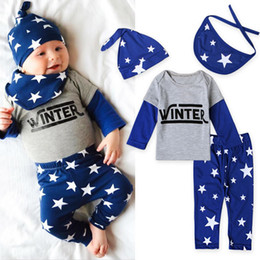 Wholesale Newborn Clothes China - Christmas My First Outfits For Baby Boy Girl Set Clothing China 4PC Newborn Hat+Saliva Towel+Star T Shirt+Pant Suit Infant Boutique Costume
