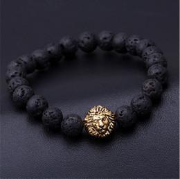großhandel armband leder slake Rabatt 2016 Blau perlen armband buddha armbänder paracord naturstein lion armband männer pulseras hombre bracciali uomo herren armreifen