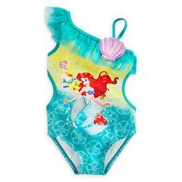 Wholesale Little Girl Beach Suit - wholesale 7 lot Cartoon The Little Mermaid swimsuit,One-Piece Swimsuit for Girls beach wear bathing suit with cap summer UPF girls