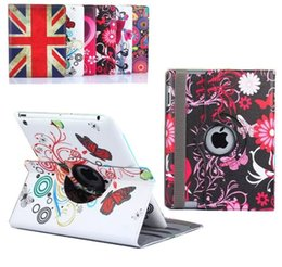 Wholesale Wholesale Cover Ipad Usa - Magnetic 360 Rotating Heart Flower Butterfly Rose USA UK Flag Flip PU Leather Smart Cover Case With Stand For iPad Mini 4 Mini4 7.9inch