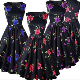 Wholesale Rose Swing - With Belt Summer Sleeveless Fashion Women Vintage Elegant Dress Floral Print Rose Retro Flowers Party Rockabilly Swing Dresses