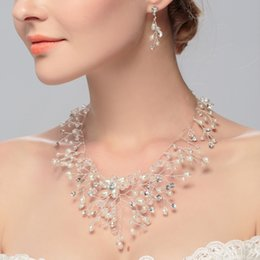 Wholesale Handmade Diamond Necklace - Elegant Wedding jewelry set Bridal Top Quality handmade Pearl Rhinestone diamonds Necklace and Earrings Sets Party Jewelry for Party Bridel
