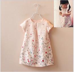 Wholesale Girls Flower Tshirts - 2016 Summer Baby Girl Dress Shirt Cute Girls Butterfly Flower Printed Pink Skirt Kids Clothing Fashion Girl Princess T-shirt Dresses Tshirts