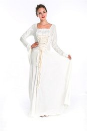 Wholesale Renaissance Princess Dresses - High quality Free shipping Hofadel Renaissance Medieval Game of Thrones Costume Halloween Cosplay white velour dress queen costume