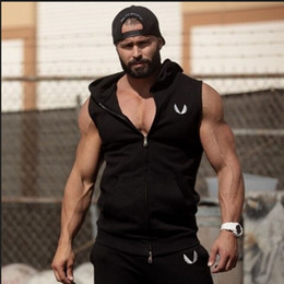 Wholesale Solid Tank Tops - Wholesale-Men Cotton Hoodie Sweatshirts fitness clothes Gym bodybuilding tank top men Sleeveless sport Tees Shirt Casual golds gym vest