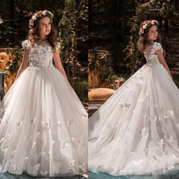 Wholesale Green Butterfly Pictures - Princess Butterfly Appliqued Flower Girls Dresses For Weddings Puffy Skirts Beads 2018 New Communion Dress Cheap Kids Birthday Ball Gowns