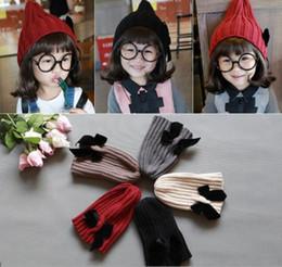 Wholesale Cute Woolen Hats - Cute Children Crochet Hats Girls Caps Hats Bow Winter Hats Beanies Caps Fashion Hand Knitted Caps Kids Woolen Cap