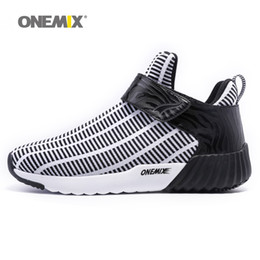 Wholesale Zebra High Boots - ONEMIX Mens Winter Warm Shoes for Men 2017 High Top Sports Outdoor Running Shoes Man Black Leisure Zebra Athletic Trainers Walking Sneakers