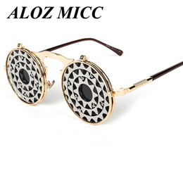 Wholesale Metallic Wrap - ALOZ MICC Steam StyleSteam Punk Gothic Punk Vintage Clamshell Sunglasses Metallic Reflective Sunglasses,Personality Flip Sunglasse UV A257