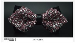 Wholesale Wholesale Bow Ties Cheap - Cheap wholesale Korean male stars diamond wedding groom bow tie banquet nightclub diamond bow 9 color spot