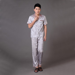 Wholesale Chinese Sale Suits - Wholesale-Hot Sale Chinese Style Printed Men's Pajamas Suit Summer Casual Nightgown Sleepwear Pyjamas Set Size S M L XL XXL XXXL MP005