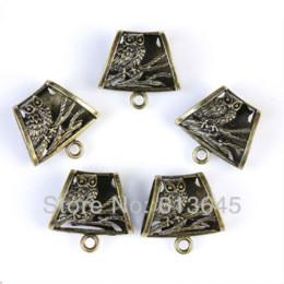 Wholesale Bronze Scarf Bails - 12 Pieces lot Wholesale Antique Bronze Owl Pendent Scarf Slide Bails, Free Shipping, AC0243B Pendants Cheap Pendants
