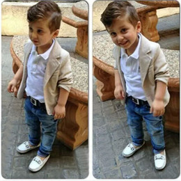Wholesale Formal Styles Suits Blazers - XN43 Kid Sprig Autumn Boy 3 Pieces Sets Gentleman Style Formal Party suits Boy Fashion Style Blazer + White Blouse + Denim Pants size 2T-8T