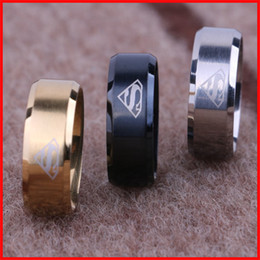Wholesale Black Superman Movie - Fashion titanium super hero superman LOGO finger ring tail rings thumb ring for men women Gold silver black punk movie jewelry 080135