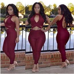 Wholesale Overall Ladies - Wholesale- Sexy Red Rompers Womens Jumpsuits Long Pants Backless Overalls Ladies Off Shoulder Sexy One Piece Outfits Skinny Hollow