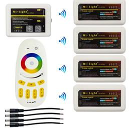 Controlador de grupo online-Milight WIFI Hub + 4pcs 2.4G Grupo RGBW LED Controlador + RF Touch Controles remotos para 2.4G RGBW RGB LED Tira Bombilla Lámpara DC 12V 24V