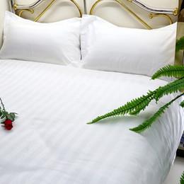 Wholesale Satin Bedspread Sets - Bedding Cloths Bedspreads Set Hotel Supplies Guest Room 4 Pieces Set Linen Satin Strip Cotton White Color Wholesale 1.8M 4 Types