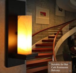 design ristorante industriale Sconti Lampade da parete a led design retro Illuminazione luci da vanità industriali Lampada da parete in marmo naturale Village Cafe Aisle Applique da parete in ferro