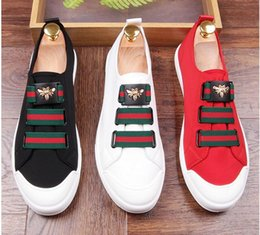 Wholesale Micro Dresses - New 2017 Mens Leather Loafers Black Red white Suede Slippers Belgian Dress Shoes Casual Men Loafers With Bowtie Men's Flats AXX546