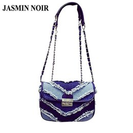 Wholesale Over Lock - Wholesale-New 2016 Korean Brand Designer Denim Women Crossbody Bag lock small jeans cowboy chain bag over Shoulder Messenger Bag