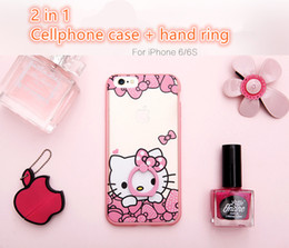 Wholesale Cute Phones For Sale - 3 Pieces Start Sale 2 in 1 Cute gilrs Cartoon Style Cell Phones Cases Plus Hand Car Mount Ring Waterproof Case for iPhone 6 6s